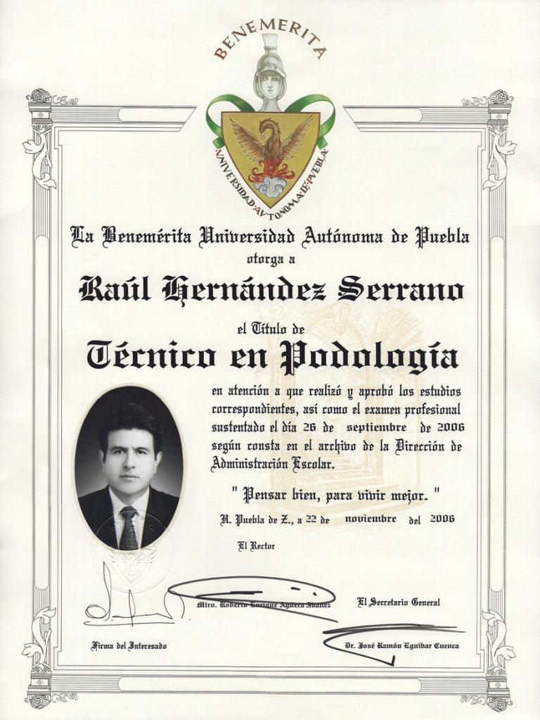 Titulo Raul Hernandez-Podólogos-Certificados